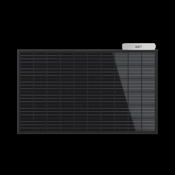 Solarkraftwerk für den Gartenhes aus einem Photovoltaikmodul und einem Wechselrichter besteht.