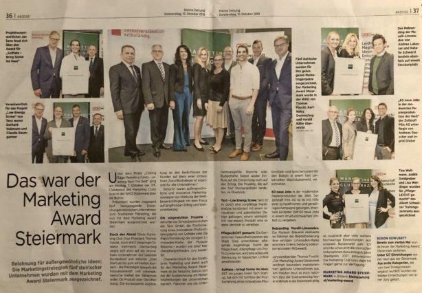 Der Landespreis in Marketing geht an EET. Marketing Club Graz verleiht den Marketing Award Steiermark.