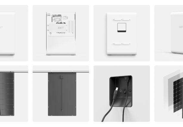 Verschiedene Ansichten des smarten Stromspeichers SolMate mit den dazugehörigen PV Paneelen.