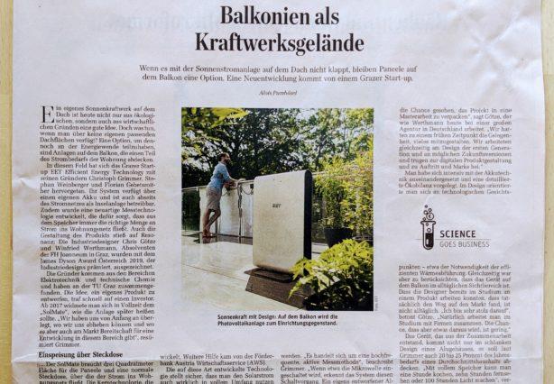 Wer kein Dach zur Verfügung hat, kann nun auch auf Balkonien Strom produzieren, mit der Sonnenstromanlage SolMate des Grazer Unternehmens EET.
