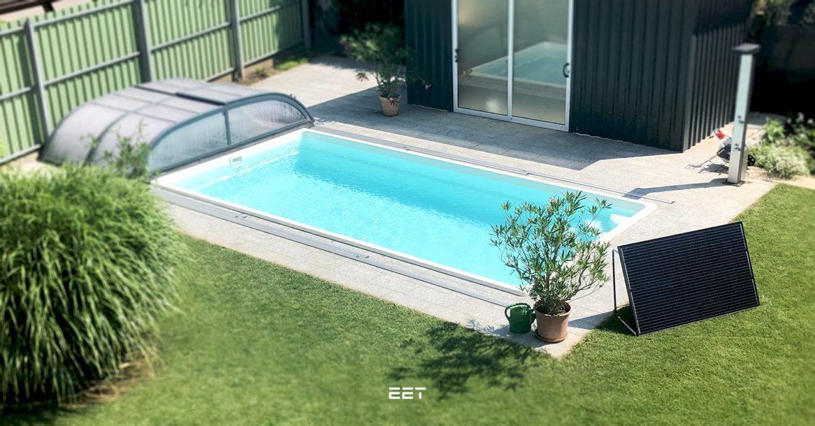 Das solare Zubehör LightMate lässt den Pool Sonne tanken.